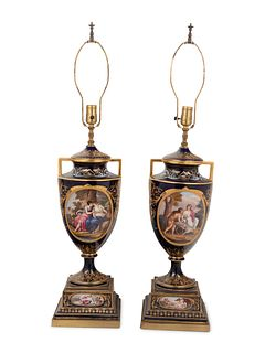 A Pair of Vienna Porcelain Urns Mounted as Lamps