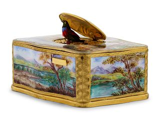A German Enameled Singing Bird Automaton Box