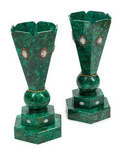 A Pair of Jasperware Medallion-Mounted Malachite Veneered Vases