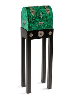 A Ruby, Emerald and Filigree Mounted Malachite Casket on Stand