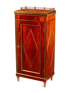 A Russian Brass Mounted Mahogany Pedestal Cabinet
