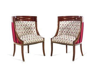 A Pair of Russian Neoclassical Brass Inlaid Mahogany Bergeres
