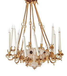 A Continental Gilt Metal and Jeweled Opaline Glass Twelve-Light Chandelier