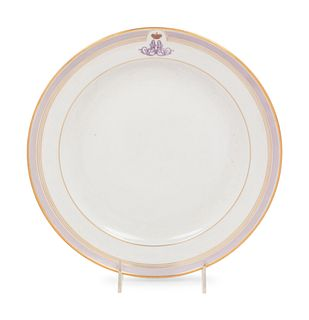 A Russian Porcelain Plate from the Everyday Service of Grand Duke Alexander Alexandrovich