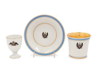 A Russian Porcelain Teacup and Saucer from the Tsarskoe Selo Service
