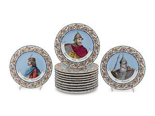 A Set of Twelve Russian Portrait Plates