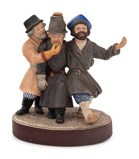 A Russian Bisque Porcelain Figural Group of Peasants