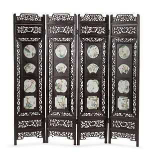 A Chinese Porcelain-Inset Pierce Carved Hardwood Floor Screen