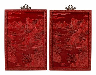 A Pair of Chinese Export Carved Red Lacquer Panels