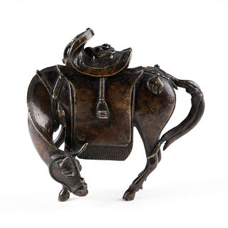 Chinese Ming Bronze Mule Censer