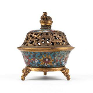 Imperial Ming Chinese Cloisonne Tripod Censer Marked