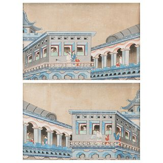 Pair of 19th c. Chinese Gouache Paintings