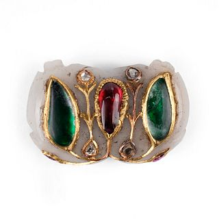 19th c. Mughal Jade Pendant w/ Diamond Emerald Ruby