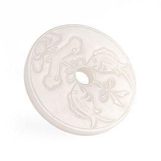 20th c. Chinese White Jade Bi Carving