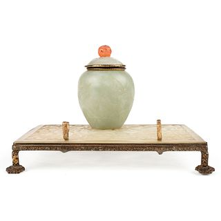 Early Chinese Carved Jade Inkwell Stand