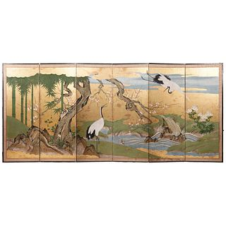 Japanese Edo Period Six Panel Floor Screen