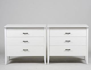 PAIR OF WHITE LACQUERED DREXEL COMMODES