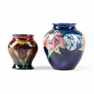 Grp: 2 Moorcroft English Deco Art Pottery Orchid Flower Vases
