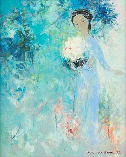 "Vu Cao Dam ""La Cueillette"" Oil on Canvas - Findlay Galleries"