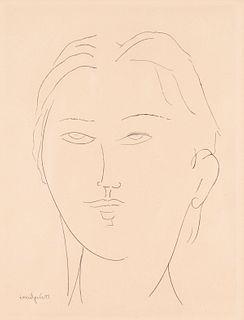 Modigliani Female Head Etching