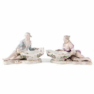 Pair of Meissen Figural Sweet Meat Dishes