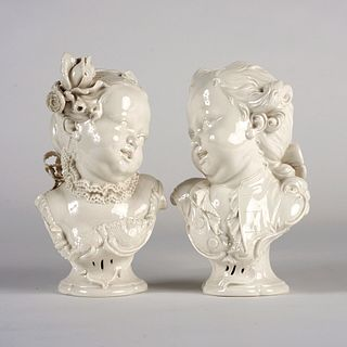 Pair of Nymphenburg Bustelli Busts of Children