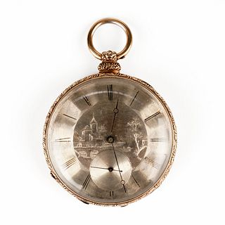 14K Gold Open Face Pocket Watch w/ Etching