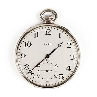 Elgin 14K White Gold Open Face Pocket Watch