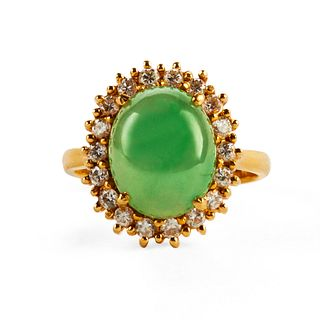 18K Gold Jade & Diamond Ring