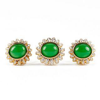 14K Gold Jade Diamond Ring & Earring Set