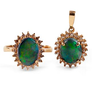 Black Opal & Diamond Ring & Pendant