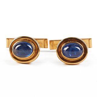 18K Gold Sapphire Cufflinks