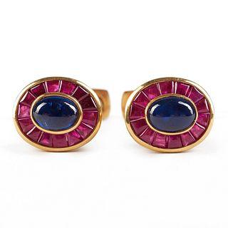 Giovane 18K Gold Sapphire Ruby Cufflinks