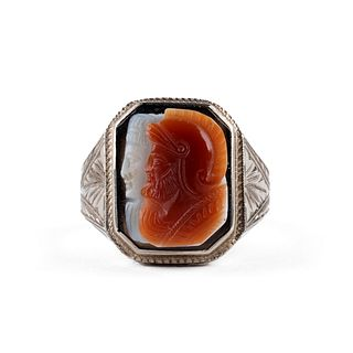 Art Deco 10K White Gold Cameo Ring
