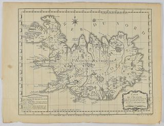 Jacques-Nicolas Bellin Map of Iceland ca. 1759