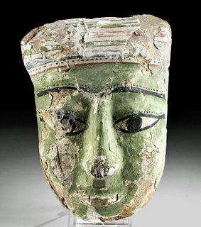Egyptian Painted Gesso / Cedar Sarcophagus Mask