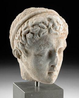 Roman Marble Head of a Youthful Male - Art Loss