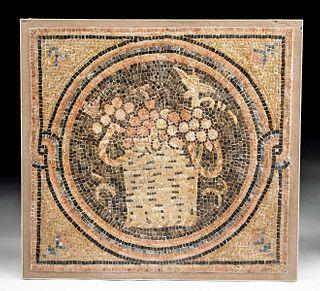 Roman Stone Mosaic with Basket of Grapes - Art Loss