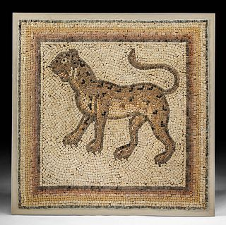 Roman Stone Mosaic of Leopard - Art Loss Cleared