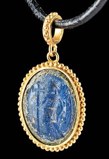 21K Gold Pendant w/ Roman Glass Intaglio