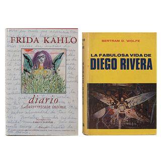 LIBROS SOBRE DIEGO RIVERA Y FRIDA KAHLO. a) Wolfe, Bertram D. La Fabulosa Vida de Diego Rivera. b) Diario de Frida Kahlo. Pzs: 2.