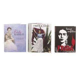 LOTE DE LIBROS SOBRE FRIDA KAHLO. a) Zamora, Martha. Frida. El Pincel de la Angustia / Frida Kahlo. El Círculo de los Afectos. Pzs: 3.