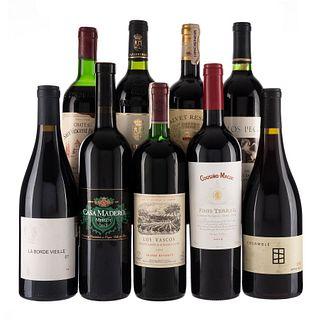Vinos Tintos de Chile, México, U.S.A., España y Francia. a) Cousiño - Macul. b) Casa Madero. c) Clos Pegase. Total de piezas: 9.