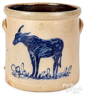 Stoneware crock, 19th c. cobalt mule