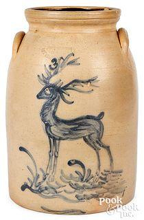 NY stoneware crock, Macquoid stag