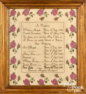 Stockport England silk on linen family register