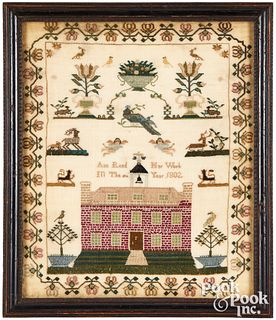 English silk on linen sampler, dated 1802