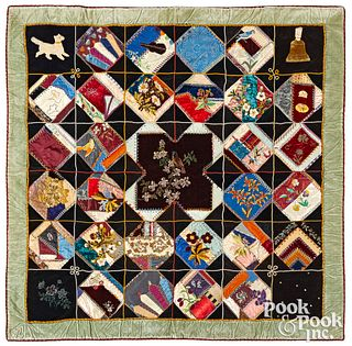 Victorian embroidered crazy quilt