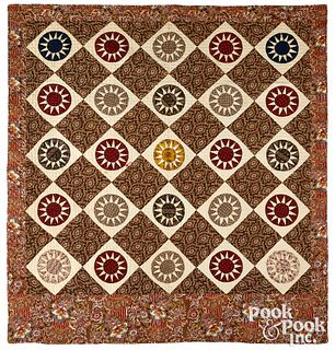 Pieced mariners compass quilt, mid 19th c.