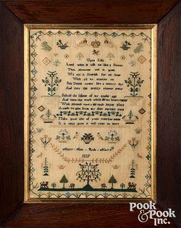 English silk on linen sampler, dated 1839